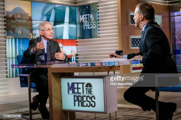 """Pictured: -- Dr. Anthony Fauci, Director, National Institute of Allergy and Infectious Diseases, and Moderator Chuck Todd appear on Meet the Press""""..."""
