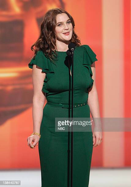 Drew Barrymore on stage during The 63rd Annual Golden Globe Awards at the Beverly Hilton Hotel