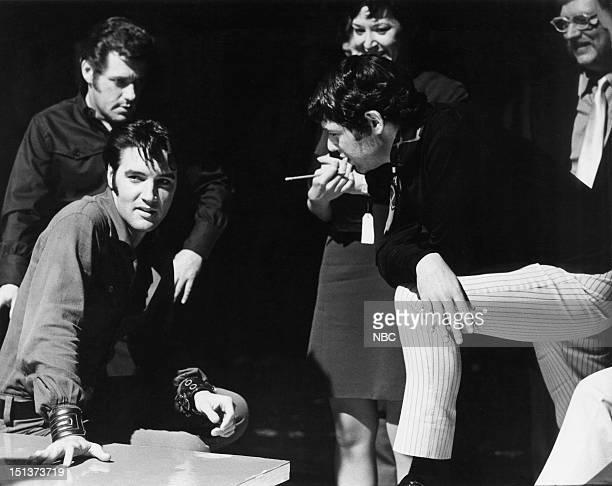 '68 COMEBACK SPECIAL Pictured Drummer DJ Fontana Elvis Presley director Steve Binder during his '68 Comeback Special on NBC