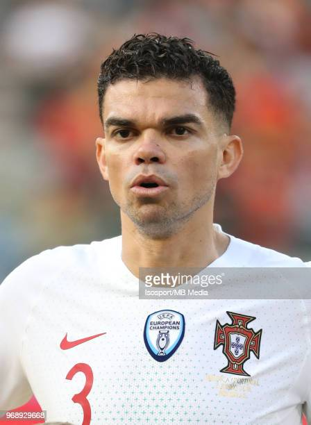 PEPE pictured during a friendly game between Belgium and Portugal as part of preparations for the 2018 FIFA World Cup in Russia on June 2 2018 in...