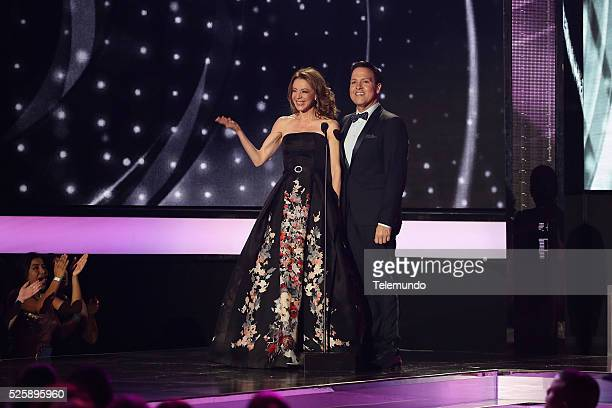 Edith Gonzalez and Raul Gonzalez speak on stage during the 2016 Billboard Latin Music Awards at the BankUnited Center in Miami Florida on April 28...