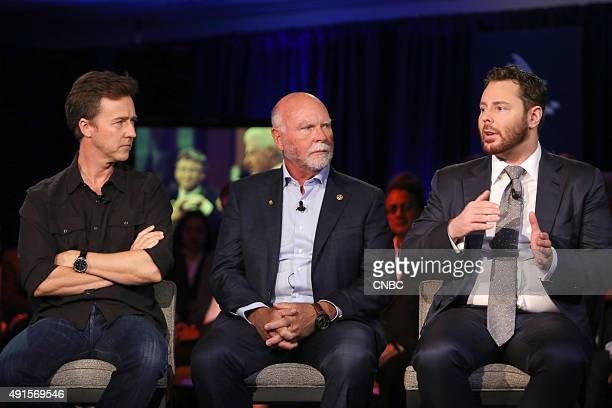 Edward Norton actor and activist J Craig Venter CoFounder CEO and Chairman Human Logevity Inc and Sean Parker Chairman The Parker Foundation in a...