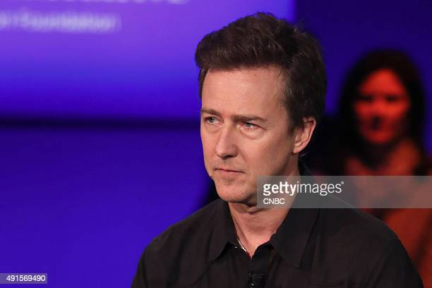 Edward Norton in a panel discussion at the Clinton Global Initiative Annual Meeting in New York City on September 29 2015 The panel also included...