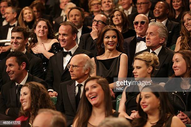 Eli Manning Peyton Manning Catherine ZetaJones Michael Douglas during the Audience QA on February 15 2015