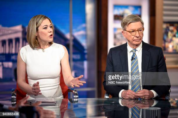 """Pictured: Elise Jordan, MSNBC Political Analyst, and George Will, Syndicated Columnist, appear on """"Meet the Press"""" in Washington, D.C., Sunday, April..."""