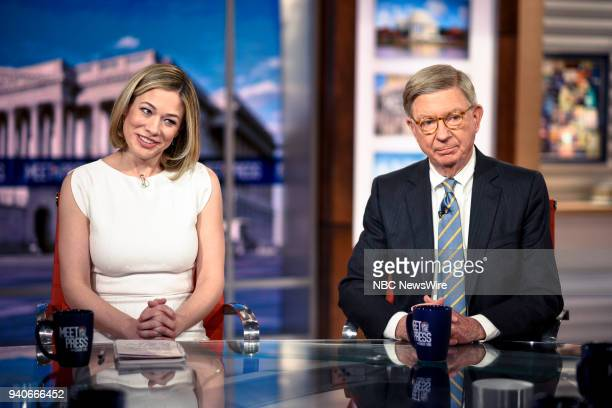 Elise Jordan MSNBC Political Analyst and George Will Syndicated Columnist appear on Meet the Press in Washington DC Sunday April 1 2018