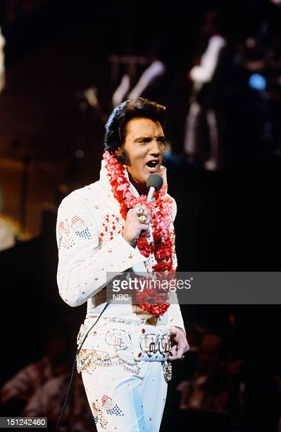 Pictured: Elvis Presley during a live performance at Honolulu International Center in Honolulu, Hawaii on January 14, 1973 for his NBC special --