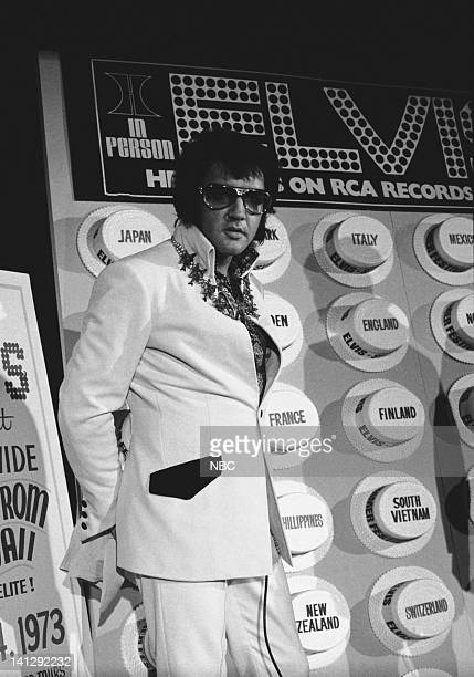 Elvis Presley during a promotional interview at the Las Vegas Hilton in Las Vegas Nevada on September 4 1972 for his televised concert Elvis Aloha...