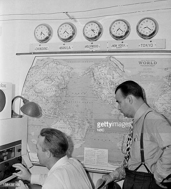 Engineer Carl Lorenz Chief announcer Clinton Twiss at the Far East listening post in North Hollywood CA
