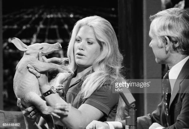 Environmental/ Animal Advocate Joan Embrey holding a baby aardvark with Host Johnny Carson on May 8th 1972