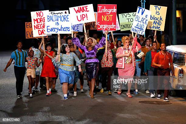 Pictured: Ephraim Sykes as Seaweed J. Stubbs, Shahadi Wright Joseph as Little Inez, Maddie Baillio as Tracy Turnblad, Jennifer Hudson as Motormouth...