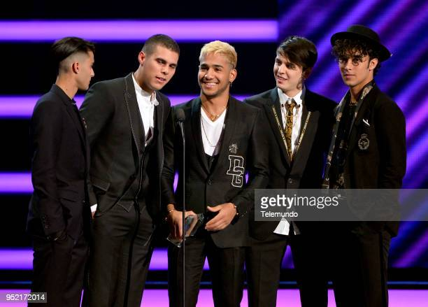 Erick Brian Colon Zabdiel De Jesus Richard Camacho Christopher Velez and Joel Pimentel of CNCO accept the award for Latin Pop Group of the Year on...