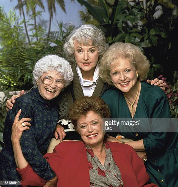 Pictured: Estelle Getty as Sophia Petrillo, Bea Arthur as Dorothy Petrillo-Zbornak, Betty White as Rose Nylund, Rue McClanahan as Blanch Devereaux
