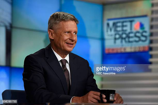 """Pictured: Former New Mexico Gov. Gary Johnson and Presidential Nominee for the Libertarian Party appears on """"Meet the Press"""" in Washington, D.C.,..."""