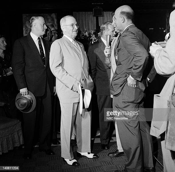Pictured: Former President of the United States Harry S. Truman , NBC News' Paul Cunningham, NBC News' Joe Michaels at the 1956 Democratic National...