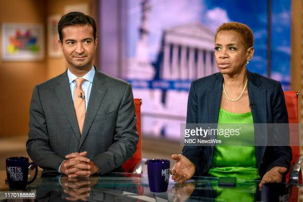 """Pictured: Former Rep. Carlos Curbelo and Former Rep. Donna Edwards appear on """"Meet the Press"""" in Washington, D.C., Sunday September 22, 2019."""