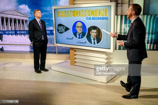 """Pictured: Former U.S. Ambassador to Russia Michael McFaul and moderator Chuck Todd appear on """"Meet the Press"""" in Washington, D.C., Sunday September..."""