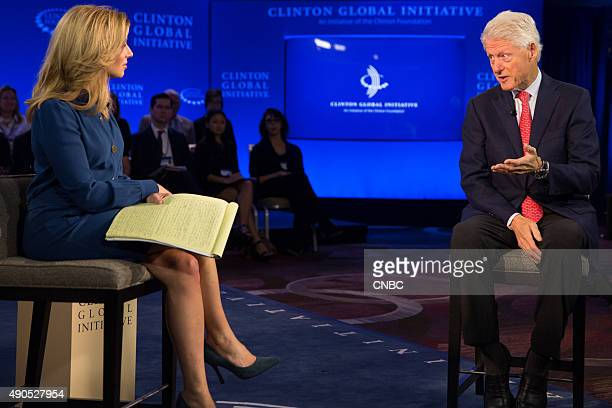 Former US President Bill Clinton speaks to CNBC's Becky Quick in an exclusive interview during the Clinton Global Initiative Annual Meeting in New...