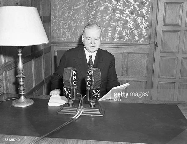 Pictured: Former U.S. President Herbert Hoover during an NBC broadcast in 1939