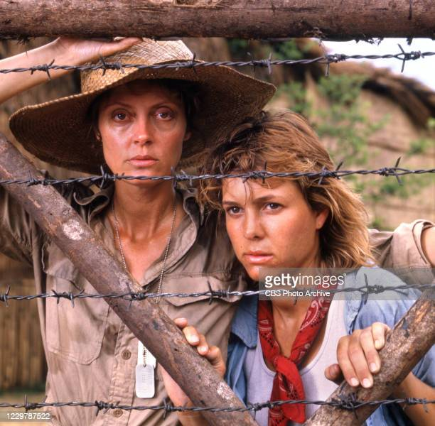 Pictured from left are actors Susan Sarandon and Kristy McNichol in the made for TV movie, WOMEN OF VALOR, originally broadcast November 23, 1986.