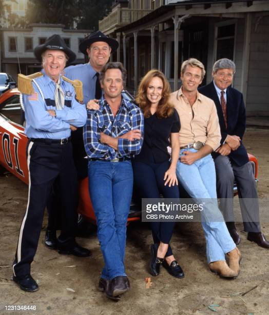 Pictured from left is James Best , Rick Hurst ,Tom Wopat , Catherine Bach , John Schneider , Ben Jones in the made for television movie, THE DUKES OF...