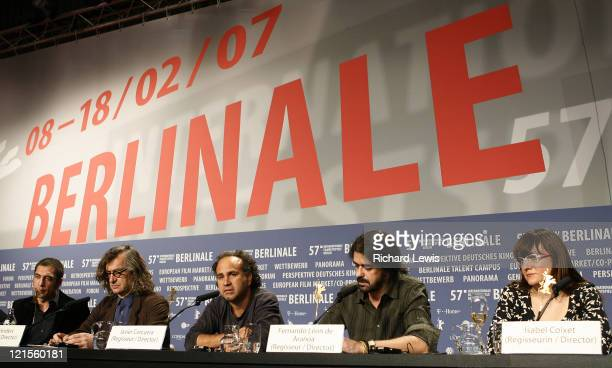 Pictured from left Producer Javier Bardem Directors Wim Wenders Javier Corcuera Fernando Leon de Aranoa and Isabel Coixet