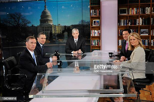 from left to right are Joe McQuaid Publisher New Hampshire Union Leader Former Rep Harold Ford Jr moderator David Gregory Mark Halperin Senior...