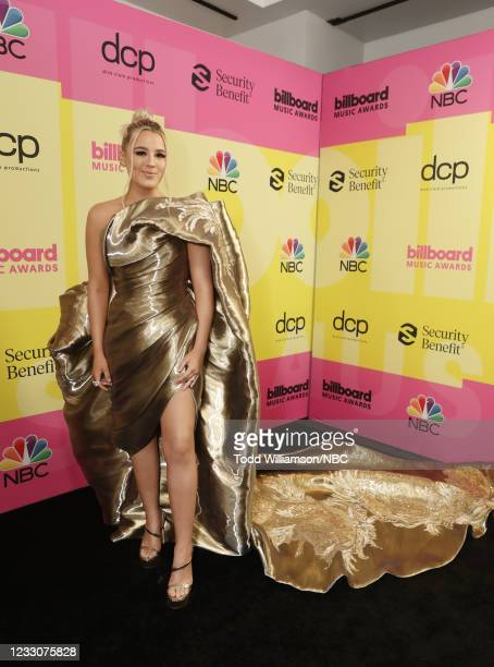 Pictured: Gabby Barrett arrives to the 2021 Billboard Music Awards held at the Microsoft Theater on May 23, 2021 in Los Angeles, California. --