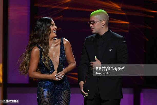 Pictured: Gaby Espino and Bad Bunny speak at the Mandalay Bay Resort and Casino in Las Vegas, NV on April 25, 2019 --
