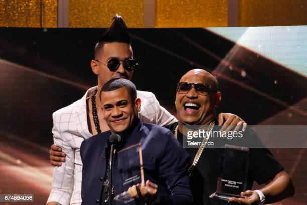 Gente de Zona accepts 'Tropical Albums' Artista del Ano Duo o Grupo' on stage at the Watsco Center in the University of Miami Coral Gables Florida on...