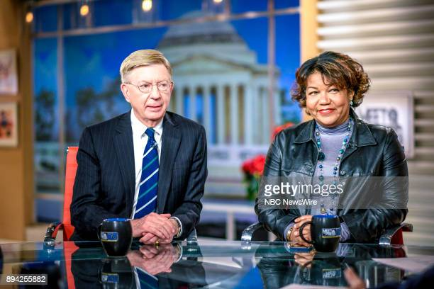 """Pictured: George Will, Syndicated Columnist, and Helene Cooper, Pentagon Correspondent, The New York Times, appear on """"Meet the Press"""" in Washington,..."""