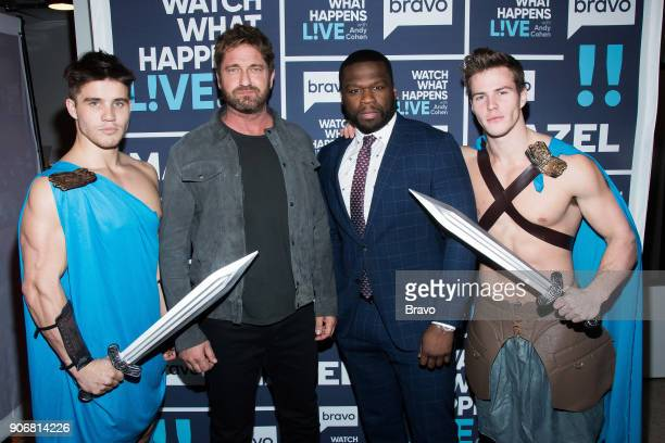Gerard Butler and 50 Cent with Spartan models