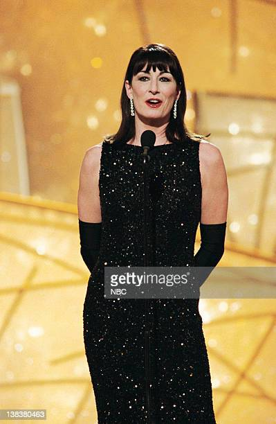 Golden Globe presenter Anjelica Huston on stage during the 55th Annual Golden Globe Awards held at the Beverly Hilton Hotel on January 18 1998