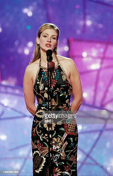 Golden Globe presenter Julia Roberts on stage during the 55th Annual Golden Globe Awards held at the Beverly Hilton Hotel on January 18 1998