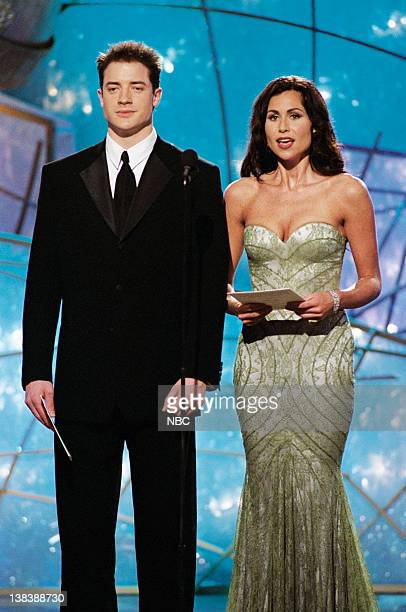 Golden Globe presenters Brendan Fraser Minnie Driver on stage during the 55th Annual Golden Globe Awards held at the Beverly Hilton Hotel on January...