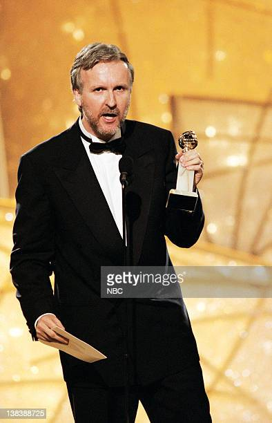 Golden Globe winner for best Director 'Titanic' James Cameron on stage during the 55th Annual Golden Globe Awards held at the Beverly Hilton Hotel on...