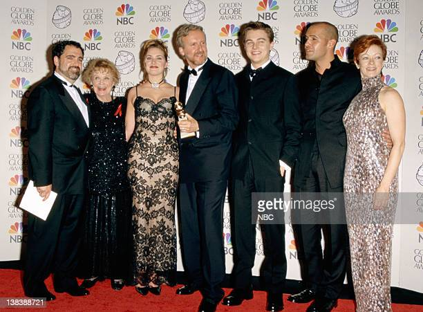 Golden Globe winners for best Picture Drama 'Titanic' Producer Jon Landau Gloria Stewart Kate Winslet director James Cameron Leonardo DiCaprio Billy...