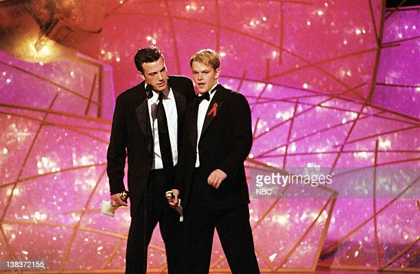 Golden Globe winners for best Screenplay 'Good Will Hunting' Ben Affleck and Matt Damon on stage during the 55th Annual Golden Globe Awards held at...