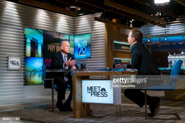 Gov Jerry Brown and moderator Chuck Todd appear in a pre taped interview on 'Meet the Press' in Washington DC Thursday March 23 2017