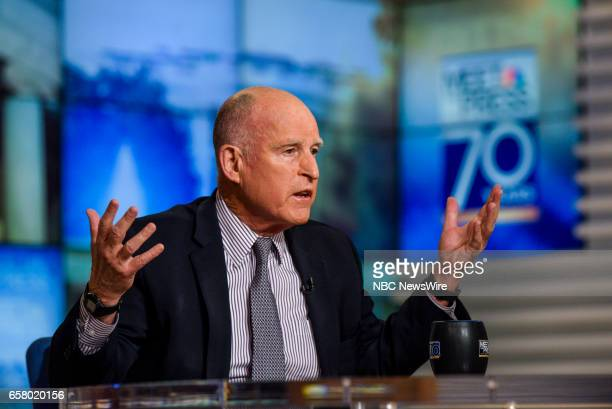 Gov Jerry Brown appears in a pre taped interview on 'Meet the Press' in Washington DC Thursday March 23 2017