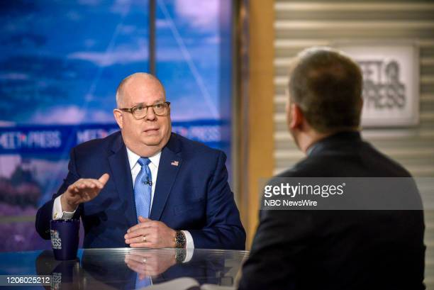 """Pictured: --Gov. Larry Hogan and moderator Chuck Todd appear on Meet the Press"""" in Washington, D.C., Sunday, March 8, 2020."""