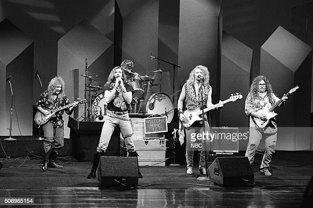 Pictured: Greg Martin, Ricky Lee Phelps, Fred Young, Doug Phelps and Richard Young of the musical guest The Kentucky Headhunters perform on April 30,...