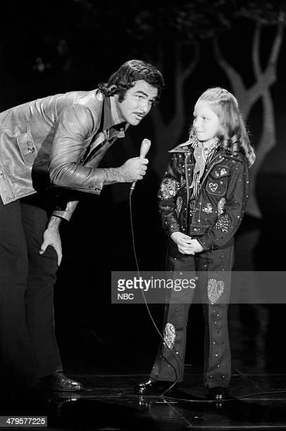 Guest host Burt Reynolds singer Lena Zavaroni on July 15 1974