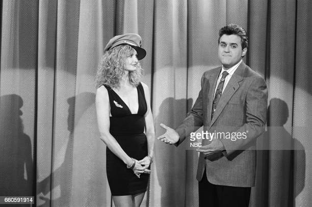 Guest host Jay Leno during the 'Interview with The Stewardess' sketch on May 14 1991