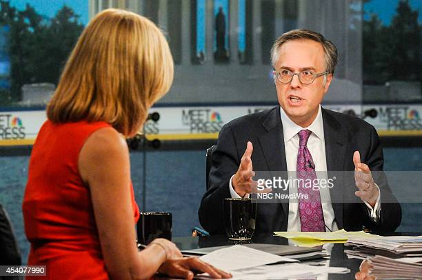 Guest moderator Chris Jansing left and Michael Gerson OpEd Columnist Washington Post right appear on Meet the Press in Washington DC Sunday August 24...