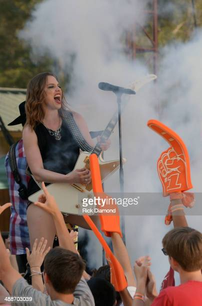 Pictured Halestorm's Lizzie Hale on the set of 'ESPN GameDay' opening taping as Big Rich Cowboy Troy Lizzie Hale and Travie McCoy perform at The...