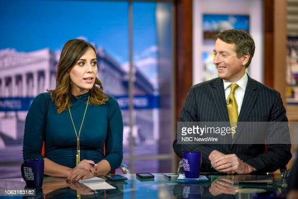 Hallie Jackson NBC News Chief White House Correspondent and Rich Lowry Editor National Review appear on Meet the Press in Washington DC Sunday Nov 18...