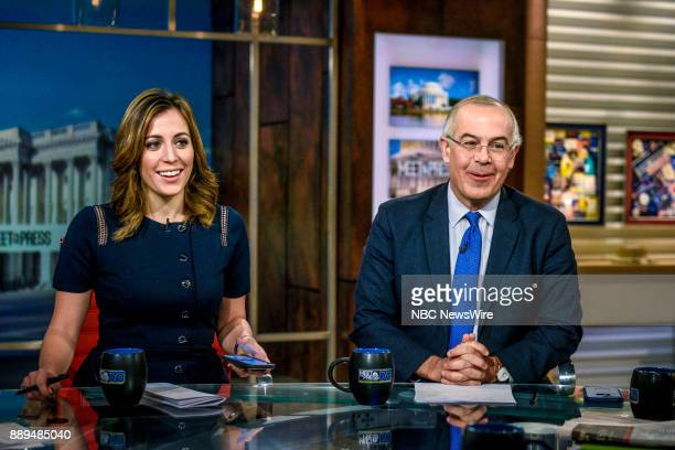 Hallie Jackson NBC News Chief White House Correspondent and David Brooks Columnist The New York Times appear on Meet the Press in Washington DC...
