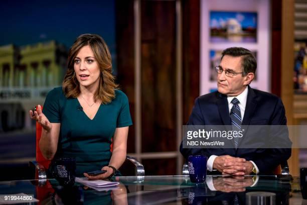 Hallie Jackson NBC News Chief White House Correspondent and Rick Santelli Editor CNBC appear on Meet the Press in Washington DC Sunday Feb 18 2018