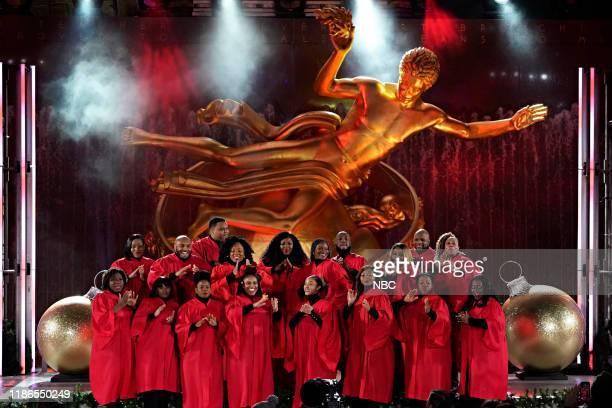 Pictured: Harlem Gospel Choir performs during the 2019 Christmas in Rockefeller Center --
